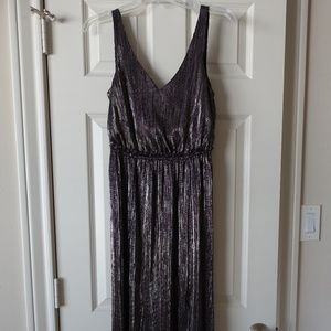 NWT BCBGeneration Metallic Maxi Double Slit Dress